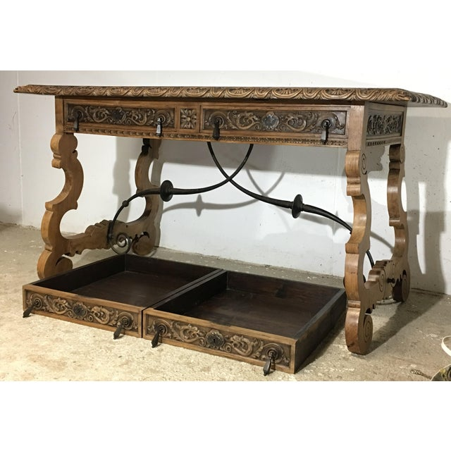 Walnut 19th Century Walnut and Wrought Iron Desk with Two Drawers and Lyre Legs For Sale - Image 7 of 12