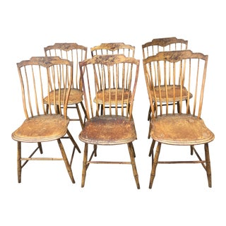 """Early 19th Century Samuel Gragg """"Elastic Back"""" Windsor Chairs- Set of 6 For Sale"""