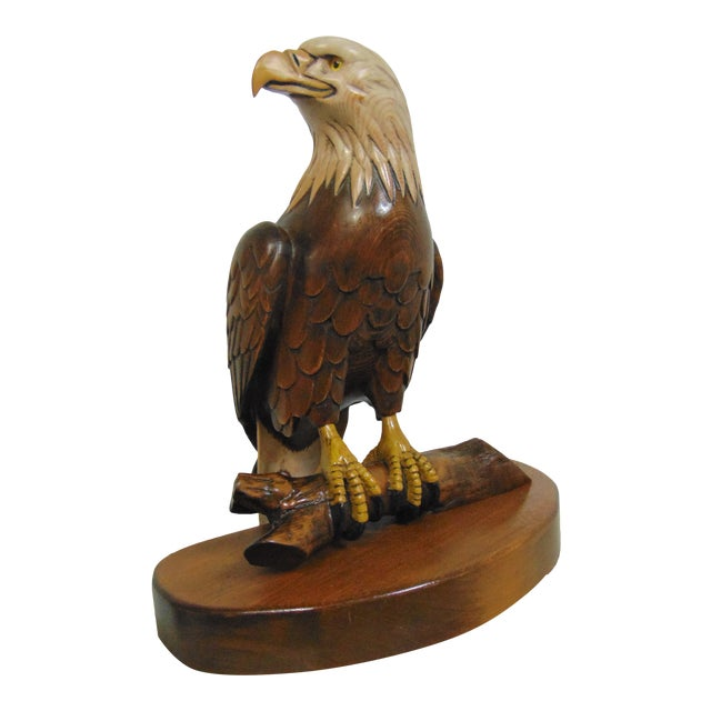Hand Carved American Bald Eagle Statue For Sale
