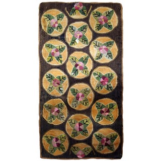 1900s Handmade Antique American Hooked Rug 2.9' X 4.7' For Sale