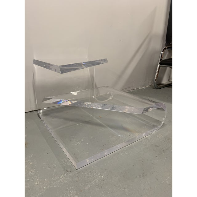 Plastic 1970s Mid-Century Modern Lucite Accent Table by Charles Hollis Jones For Sale - Image 7 of 13