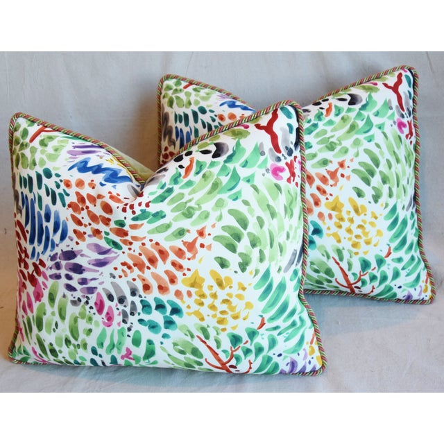 """Blue Clarence House Fabric and Scalamandre Mohair Feather/Down Pillows 23"""" X 19"""" - Pair For Sale - Image 8 of 13"""