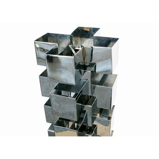 Chrome Interlaced Column Sculpture Table Lamp by Curtis Jere - Image 4 of 8
