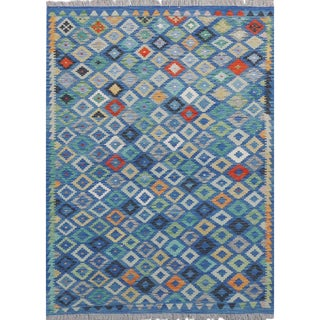 "Blue Handwoven Wool Colorful Reversible Kilim Carpet - 5'7"" X 7'4"" For Sale"