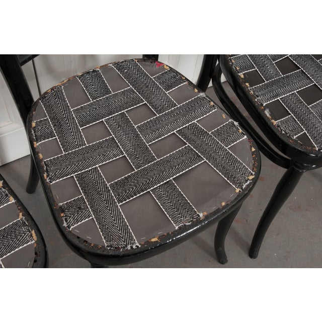 Set of Four Ebony Thonet Bentwood Side Chairs For Sale In Baton Rouge - Image 6 of 13