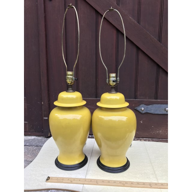 Vintage Ginger Jar Style Yellow Lamps - A Pair - Image 2 of 7