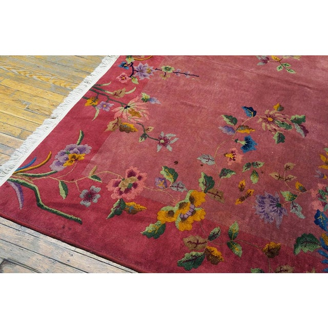 Antique Chinese Art Deco Rug- 8′10″ × 11′4″ For Sale In New York - Image 6 of 7