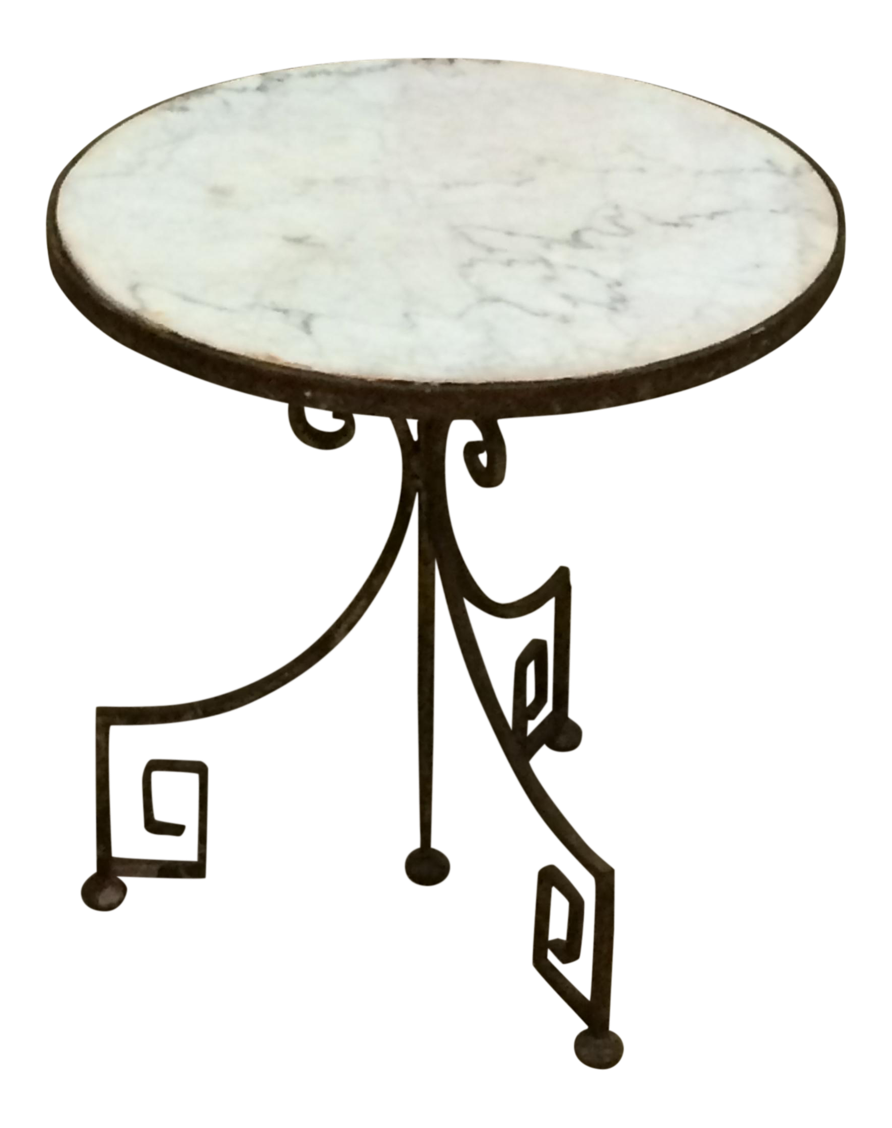 1920s Hollywood Regency Wrought Iron Side Table With White Marble Top For  Sale