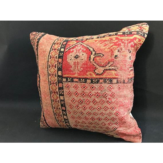 Textile 1960s Americana Handwoven Oushak Orange Pillow Case For Sale - Image 7 of 9