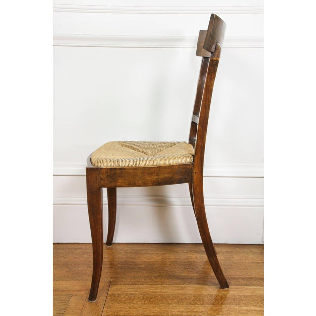 Rush Set of Six Italian Neoclassic Walnut and Ebonized Dining Chairs For Sale - Image 7 of 10