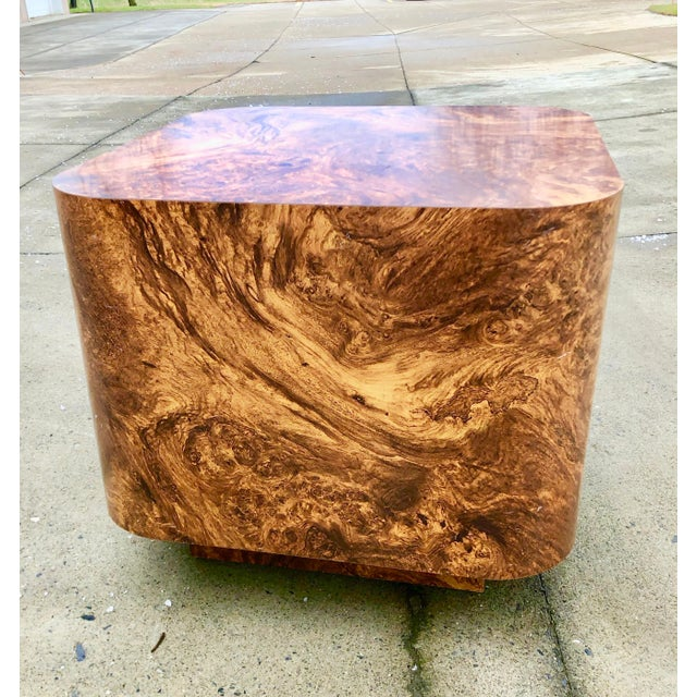 Modern Milo Baughman Burl Wood End Table or Coffee Table For Sale - Image 3 of 7