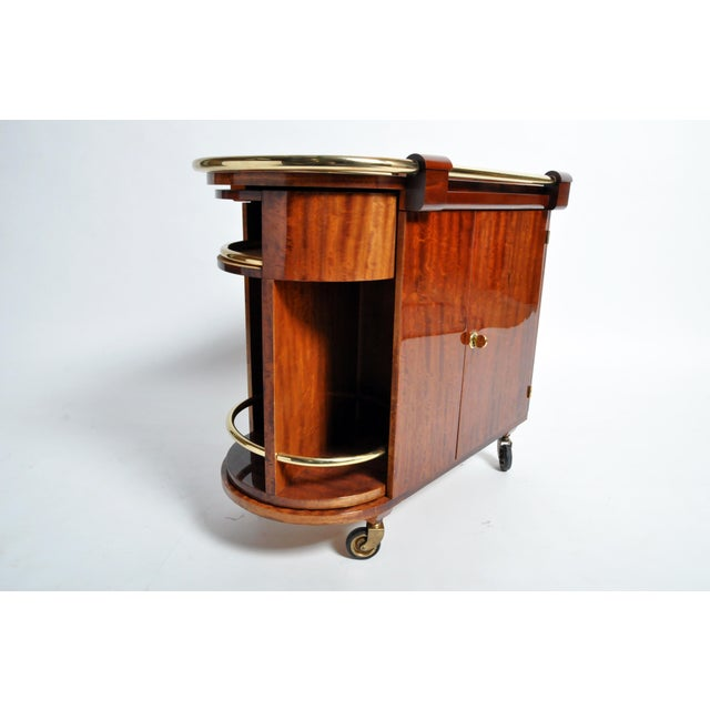 Hungarian Mid-Century Modern Mahogany Bar Cart For Sale - Image 12 of 13