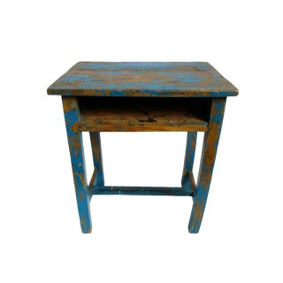 Vintage Blue School Desk / Side Table For Sale