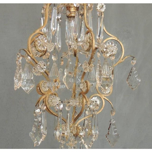 French Small Early 20th C French Neoclassical Brass and Crystal Chandelier Lantern For Sale - Image 3 of 7
