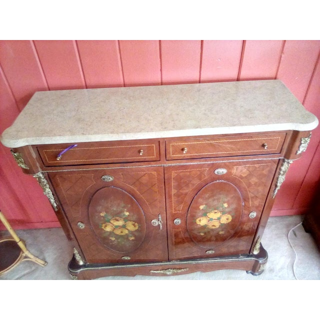 French 1960 French Server With Painted Floral Motif For Sale - Image 3 of 11