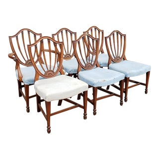 Set 6 Mahogany 1940s Sheraton Shield Back Dining Room Chairs Clearance as Is For Sale