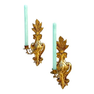Vintage Giltwood Sconces of Fleur De Lis Form - A Pair