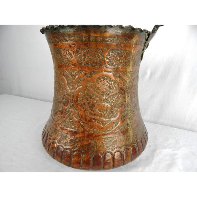 Metal Large Moorish Copper & Pewter Pail For Sale - Image 7 of 10
