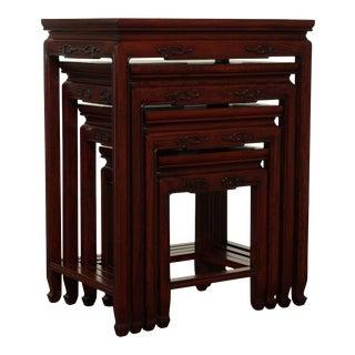 Vintage Oriental Rosewood Nesting Set 4 Tables For Sale