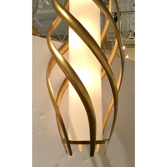 Original Retail $2628, stylish Currey & Co. Modern Gold and White Trephine Large Pendant Light, gold finished metal twist...