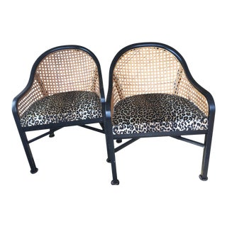 1970s Transitional Drexel Cane Arm Chairs - a Pair For Sale