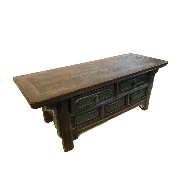 Tibetan Brown Drawers Low Altar Table Chest For Sale In New York - Image 6 of 8