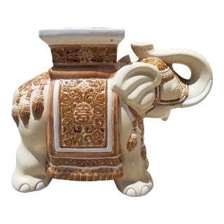 1970s Chinoiserie Ceramic Elephant Garden Stool For Sale