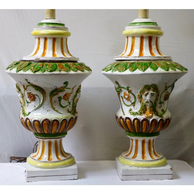 Italian Maiolica Table Lamps - A Pair - Image 5 of 9
