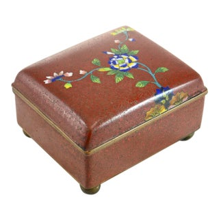 1920s Chinese Red Floral Cloisonné Box For Sale