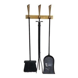 1950s George Nelson Original and Vintage Wall Mounted Fireplace Tools - 4 Pieces For Sale