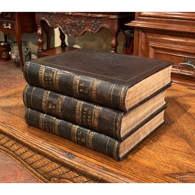Leather 19th Century English Leather Bound and Gilt Holy Family Bible - 3 Volume Set For Sale - Image 7 of 7