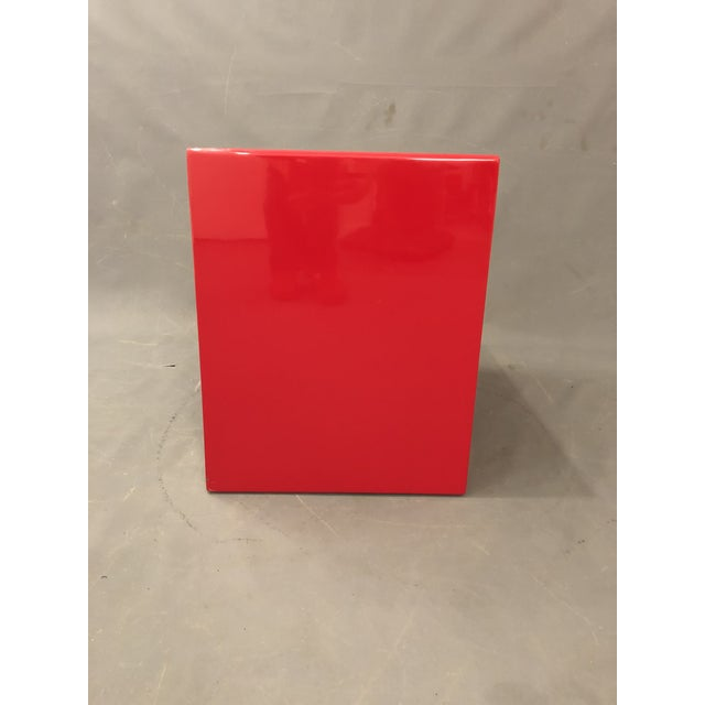 Red Mid Century Glossy Lacquered Red Waterfall End Tables- 3 Pieces For Sale - Image 8 of 13