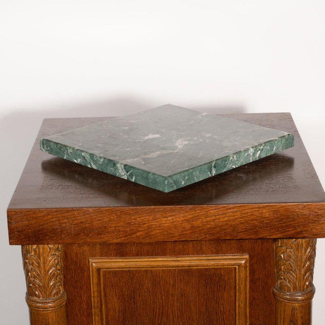 1940s Art Deco Hand Rubbed Oak Pedestal With Exotic Green Rotating Marble Top For Sale - Image 5 of 9