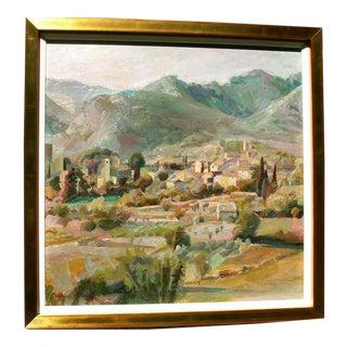 """Loumarin, Vaucluse, Luberon Mountains, France"" Landscape Painting For Sale"