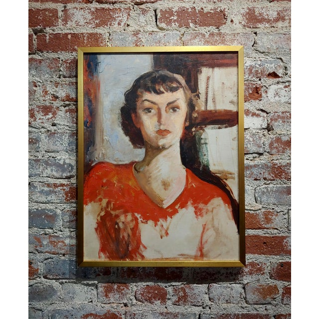 Antonia Greene -1930s Portrait of a Woman in Red -Oil Painting For Sale In Los Angeles - Image 6 of 6