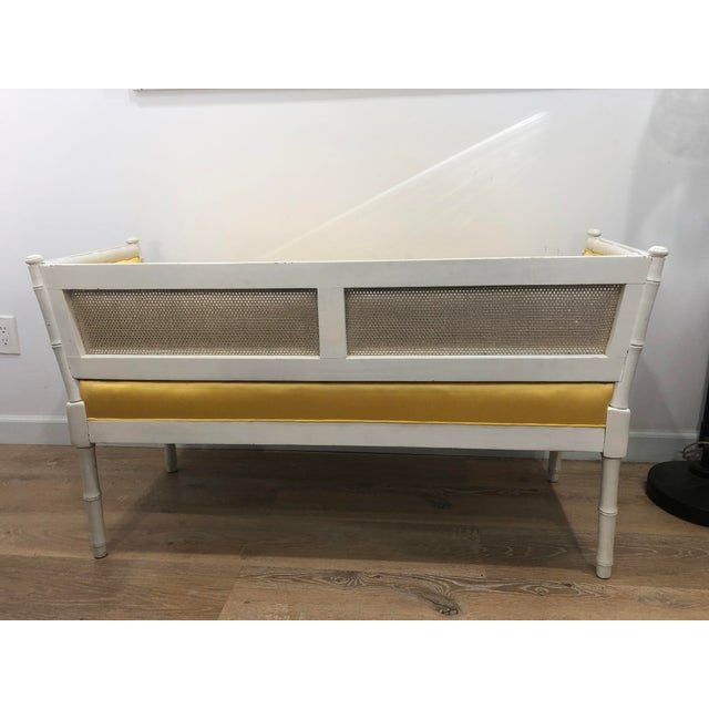 Vintage Mid-Century Faux Bamboo & Gold Satin Bench For Sale In Los Angeles - Image 6 of 9