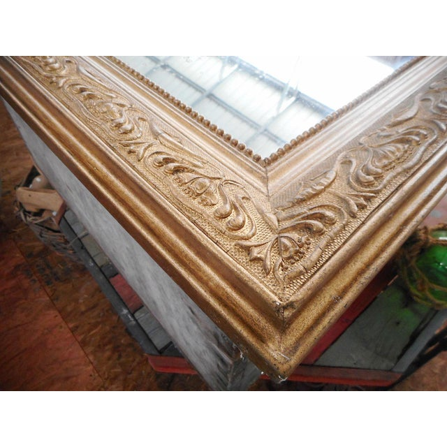 Glass Early 20th Century Antique French Art Nouveau Patinated Gold Mirror For Sale - Image 7 of 9