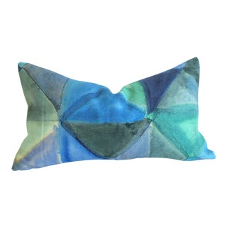 Designer's Guild Triangles Linen in Shades of Blue: 12x21 For Sale