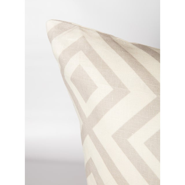 Pair of custom-made pillows featuring David Hicks Fiorentina linen fabric in light gray color-way. Pattern on fronts and...