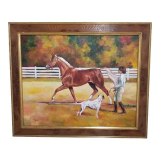 Joyce Hall Equestrian Portrait With Horse Signed Oil Painting For Sale