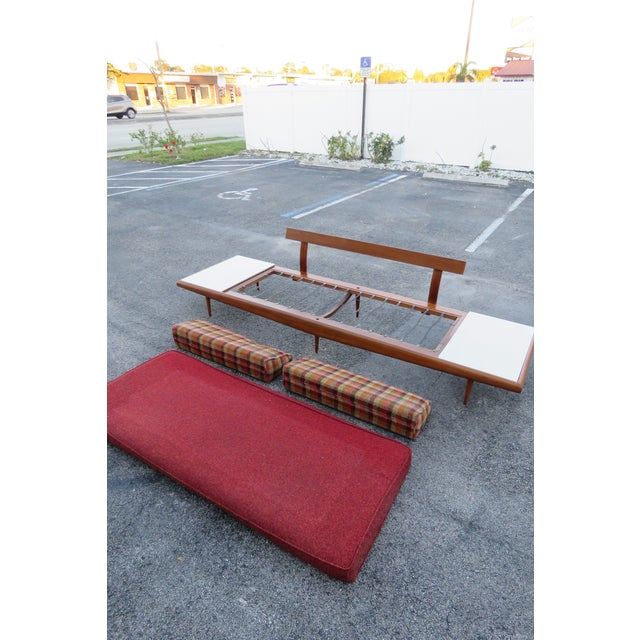 Wood Mid Century Modern Adrian Pearsall Sofa XL Travertine Marble End Tables For Sale - Image 7 of 13