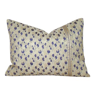 Antique Japanese Floral Silk Obi Lumbar Pillow Cover For Sale
