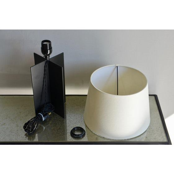 """Metal Contemporary """"Croisillon"""" Matte Black Steel and Parchment Lamp For Sale - Image 7 of 8"""