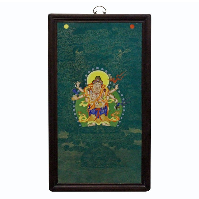 2010s Chinese Porcelain Teal Blue Tibetan Deity Painting Wall Decor For Sale - Image 5 of 9