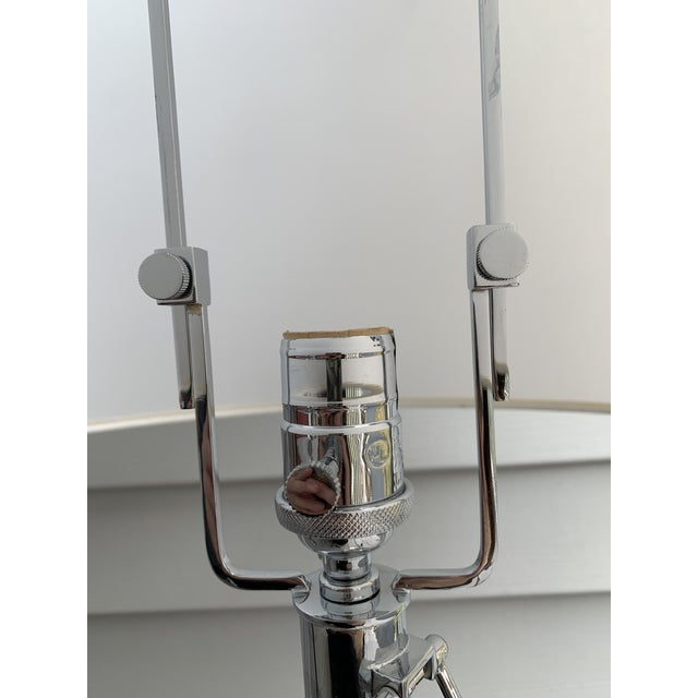1990s Ralph Lauren Stitched Leather Linear Chrome Lamps - a Pair For Sale - Image 10 of 13