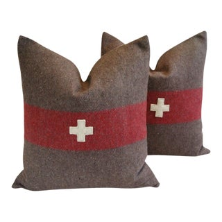 "22"" Custom Tailored Swiss Appliqué Cross Wool Feather/Down Pillows - Pair For Sale"