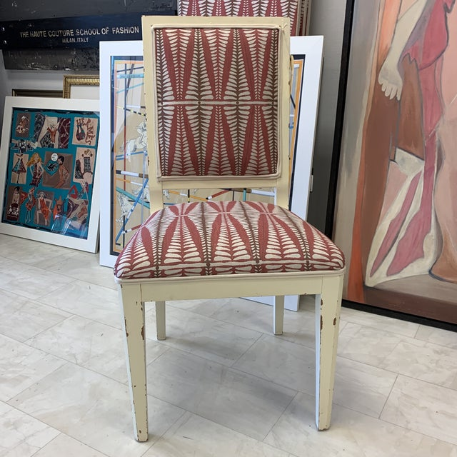 Chair made in Italy. Newly recovered in Galbraith Paul Fabric. Fun design. Body of chair had rubbed edges to look old....