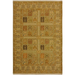 Istanbul Jerri Tan/Gold Turkish Hand-Knotted Rug -4'1 X 6'0 For Sale