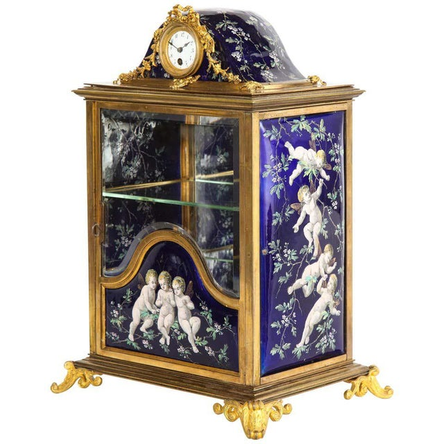 French Bronze and Limoges Enamel Jewelry Vitrine Cabinet with Clock For Sale - Image 13 of 13