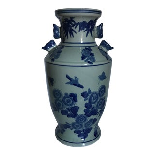 Large Blue and White Chinese Porcelain Vase For Sale